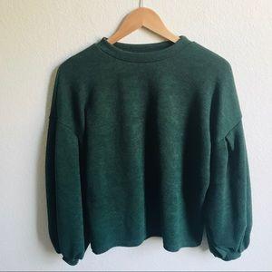 Vintage Green Balloon Sleeve Sweater M